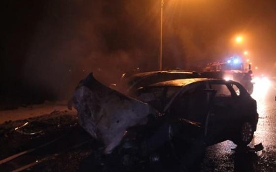 В Рославльском районе на встречке столкнулись две иномарки